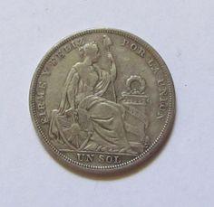 Fine silver Peruvian 1/2 0.5 decimo sol coin 1923 by annereina, $15.00