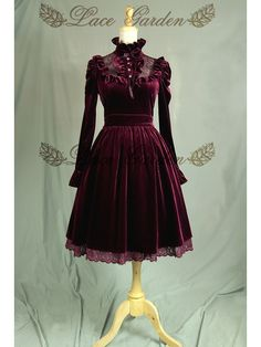 Vintage Puff Sleeves Ruffled Jabot Velvet Dress Theater Costume by Lace Garden