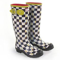 I saw these at a shop at the Beau & loved them -they're checkered but with what looks like little paint brush strokes of faint color.  But a little too expensive for rain boots.  Courtly Check Hunter Rain Boots