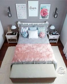 157 cozy teen girl bedroom design trends for 2019 58 Cute Room Decor, Cute Bedroom Ideas, Teen Room Decor, Pretty Bedroom, Small Room Bedroom, Room Decor Bedroom, Girls Bedroom, Modern Bedroom, Unique Teen Bedrooms