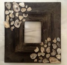 Charcole grey seashell picture frame . by ShopSweetlySalvaged
