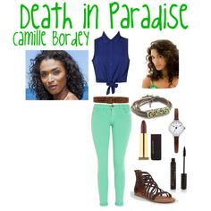 Death in Paradise - Camille Bordey by mz-blood-noir on Polyvore featuring Current/Elliott, Soda, Oasis, HTC, Kevyn Aucoin and Forever 21