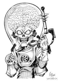 Mars Attacks art by Gabe Perna Alien Drawings, Space Drawings, Dark Art Drawings, Art Drawings Sketches, Twins Tattoo, Desenho New School, Character Art, Character Design, Tattoo Design Drawings
