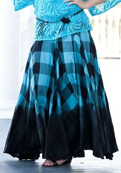 Plus Size Plaid Ombre Print Skirt by Denim 24/7 | Plus Size Skirts | Roamans