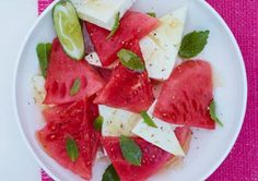 Watermelon and Feta With Honey and Mint  Layer 3 cups sliced watermelon with 3 oz sliced feta on serving plate.  Top with 1 1/2 Tbsp each honey and fresh mint leaves.  NUTRITION (per serving): 115 cal, 4 g pro, 16 g carb, 1 g fiber, 4.5 g fat, 3 g sat fat, 239 mg sodium
