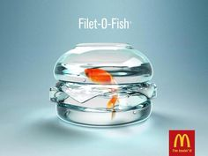 This Mcdonalds advert uses the advertising element of copy. The image in this ad shows the main ingredient used to make a Fillet-O-Fish from the Mcdonalds Menu. Ads Creative, Creative Advertising, Advertising Poster, Advertising Campaign, Advertising Design, Marketing And Advertising, Food Advertising, Marketing Ideas, Email Marketing