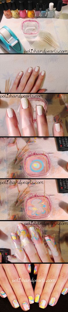 Check out this tutorial by Polish and Pearls to perfect the water marble technique.  If it's too tricky and time consuming for all ten, we suggest having one accent marble nail :)