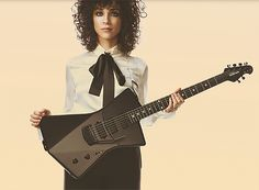 st. vincent  ernie ball signature electric guitar designed for the female body