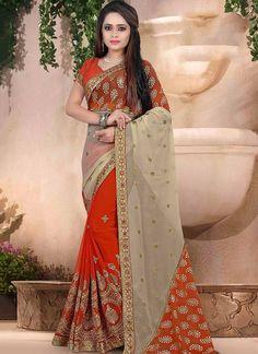 Beige Orange Faux Georgette Half And Half Saree  #casual saree #half and half saree #party wear sarees online