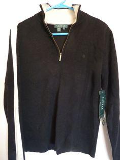 Ralph Lauren Sweater Half Zip Mock Neck Black and Ivory Size Large New w/Tags #LaurenRalphLauren #12Zip