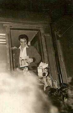 January 7, 1957  Elvis on the train following his last appearance on the Ed Sullivan Show.