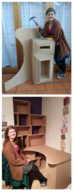 2 sheets of MDF makes box style shelves that fit inside each other for moving! My dad's a genius!