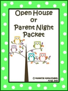 An owl themed packet of basic essentials for any open house, parents night, or back-to-school event. Packet has lots of sign-up sheets, wish-list forms, note paper, gift tags, editable labels for Daily Folders, and more.
