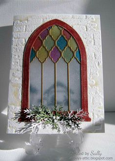 Gothic Arch Christmas Window | Window cards, Christmas ...