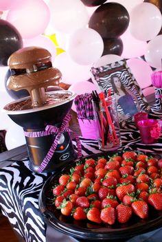 """Pink/Zebra Theme / Birthday """"Faboulous Zebra """"   Catch My Party 65th Birthday Party Ideas, 13th Birthday Parties, Birthday Dinners, 14th Birthday, Pink Zebra Birthday, Zebra Party, Chocolate Fountain Recipes, Chocolate Fountains, Animal Print Party"""