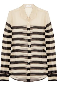Equipment Striped Silk-Chiffon Shirt,