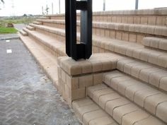 Stair and ramp combination with the Block Retaining Blocks, Cma Awards, Stairways, 4x4, Terrace, Construction, The Unit, Design, Stairs