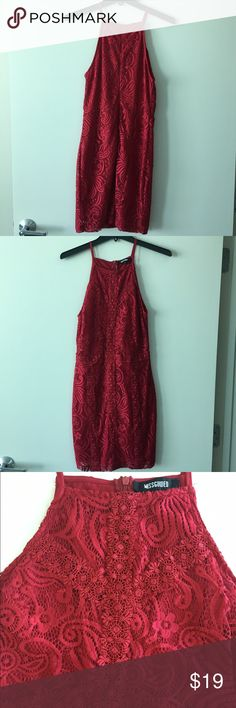 MISSGUIDED Red Lace Yolk Cutaway Dress Size 6. Worn a couple times. A couple small pulls towards the hem (see pics). Fully lined underneath. 34 inches in length. Runs small, more like a 6/8. Missguided Dresses Mini