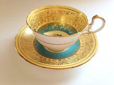 Teacup: Regal Aynsley Teacup and Saucer Yellow and Aqua by AprilsLuxuries