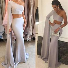 Floor-Length Mermaid Stunning Two-Pieces One-Shoulder Prom Dress_High Quality Wedding Dresses, Prom Dresses, Evening Dresses, Bridesmaid Dresses, Homecoming Dress Yellow Homecoming Dresses, Mermaid Prom Dresses, Cheap Prom Dresses, Cheap Wedding Dress, Ball Dresses, Bridesmaid Dresses, Wedding Dresses, Mermaid Evening Gown, Evening Gowns