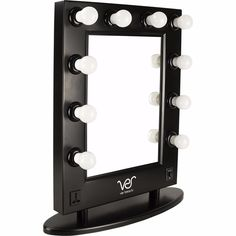 Free Standing Mirror Vanity With Lights Black Beauty Tabletop Hollywood Style  #VER http://www.ebay.com/itm/-/152434461742?ssPageName=STRK:MESE:IT