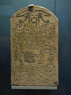 Limestone stele of Sabu (or Gebu?) with offering formula. 12th Dynasty (c.1985-1795 BC), Egypt. British Museum (EA 223).