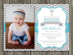 Printable Boy Baptism Photo Invitation | Christening | Blue and Gray Chevron | Cross | FREE thank you card included | Become a loyal fan on Facebook to receive freebies and see the latest designs! www.facebook.com/DazzleExpressions