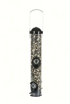 The Perky-Pet Squirrel Shield Tube Feeder features specially designed patented Caged Ports engineered to allow birds to feed easily while making it almost impossible for squirrels to feed. The circular guards around the ports are also designed to prevent seed scattering, from either wind or squirrel interference. The metal feeder has a 1 lb. seed capacity and a removable base to allow for easy cleaning. #birdfeeder #seedfeeder