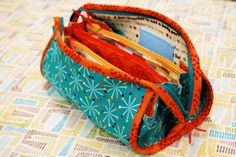 Many-pocketed bag, taught in a workshop in Alaska by Barb Kuhlmann