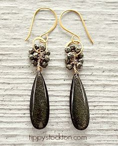 Golden Obsidian Drops with Pyrite on Gold Earrings - The Cara Earrings-earrings, dangle, golden obsidian, pyrite, 14kt gold fill, autumn, holiday, tippy stockton