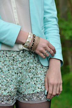 mint/gold sparkle shorts.