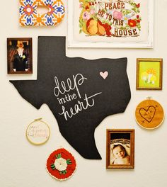State Outline Chalkboard- Any State or Country- Texas Wall Art, Going Away Present, Home School Room, Graduation Present, Wedding Present. $39.00, via Etsy. love arrangement