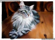 Lunchtime Maine Coon Cat Painting ...... Denise Laurent