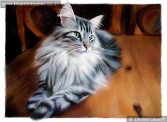 Lunchtime Maine Coon Cat Painting ...... Denise Laurent