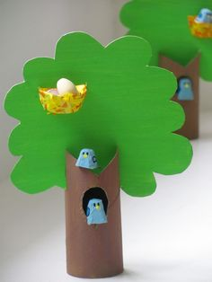 Toilet Paper Roll Crafts - Get creative! These toilet paper roll crafts are a great way to reuse these often forgotten paper products. Jumble Tree: Egg box bluebirds in a tree - Easter crafts Adorable paper roll spring or summer tree craft for kids Most o Toilet Roll Craft, Toilet Paper Roll Crafts, Cardboard Crafts, Cardboard Tree, Cardboard Fireplace, Cardboard Playhouse, Diy Paper, Paper Art, Paper Crafts For Kids