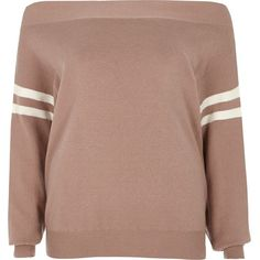 River Island Light pink stripe sleeve bardot knit sweater ($72) ❤ liked on Polyvore featuring tops, sweaters, jumpers, knitwear, pink, women, knit jumper, long sleeve sweater, brown sweater and tall sweaters