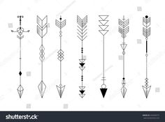 Set Graphic Arrows Design Tattoo Stock Vector (Royalty Free) 442938772 - Set of graphic arrows for design, tattoo - Geometric Arrow Tattoo, Arrow Tattoo Design, Triangle Tattoos, Arrow Design, Tattoo Arrow, Diskrete Tattoos, Body Art Tattoos, Sleeve Tattoos, Ankle Tattoos