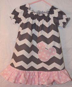 Cute Mickey / Minnie Dress in light pink polka dots and grey and white chevron!