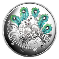 Fine Silver Coin made with Swarovski® crystals - Celebration of Love - Mintage: Swarovski Crystals Price, Canadian Coins, Canadian History, Coin Design, Coin Art, Silver Bullion, Commemorative Coins, Canadian Artists, Rare Coins