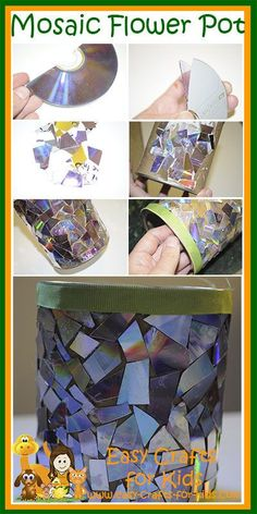 Recycled Crafts for Kids help make flowerpot. Cd crafts are so much fun Cd Mosaic, Mosaic Crafts, Pebble Mosaic, Crafts For Girls, Easy Crafts For Kids, Art For Kids, Recycled Cds, Recycled Crafts Kids, Old Cd Crafts