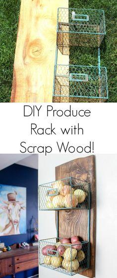 DIY Produce Rack with scrap wood