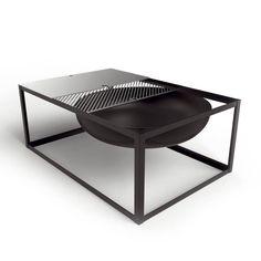 SLIDE braséro avec fonction barbecue de Konstantin Slawisnki dans un design minimaliste et épuré conçu par les designers Ding3000. Avec plaque Teppanyaki