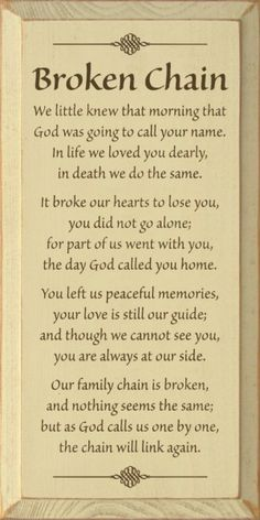 We little knew that mornings that God was going to call your name. In life we loved you dearly, in death we do the same. It broke our hearts to lose you, you did not go alone