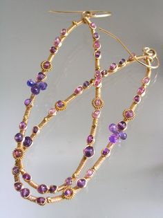 Hey, I found this really awesome Etsy listing at https://www.etsy.com/listing/183587748/lilac-sapphire-hoops-gold-filled