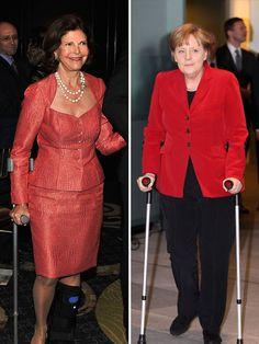 Angela Merkel und  Königin Silvia  haben momentan eins gemeinsam – sie können nur mit Hilfe von Krücken laufen. Die Bundeskanzlerin