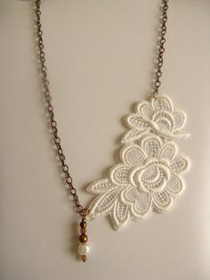 Lace and Pearl Vintage Necklace Bridal Accessory. $35.00, via Etsy.