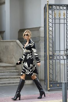 black, white, print, wrap, dress, fall, inspo