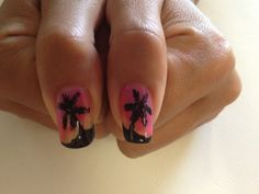 Palm Tree with Sunset Gel Polish and Regular Polish on Natural Nails By Jade Phuong's Nail Artist Team at Blackhawk Nail and Spa