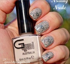 Glitter Gal Australia's nail art using Nuddy Nude, available here http://www.glittergal.com.au/Nails%20Top%20Top%20Entry.html swatched by http://www.lokislacquer.com/2014/05/glitter-gal-polish-review.html