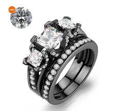 3-Stone Princess Cut Simulated Diamond Women's Dual Ring Set With Free Gift…